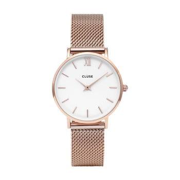 Ceas damă, curea din oţel inoxidabil Clus Minuit, roz - auriu