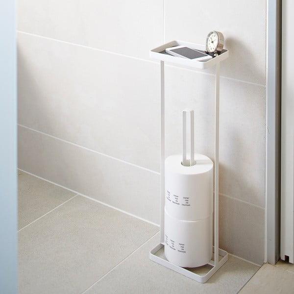 Bílý zásobník na toaletní papíry s poličkou Yamazaki Toweŕ