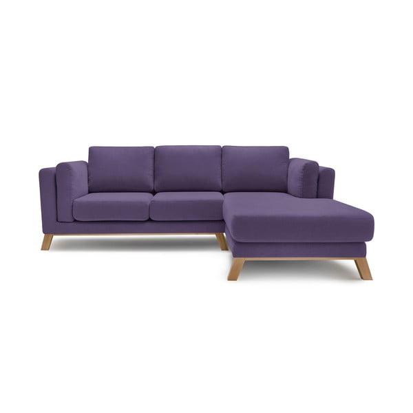 Švestkově fialová třímístná pohovka s lenoškou Bobochic Paris Seattle, pravý roh