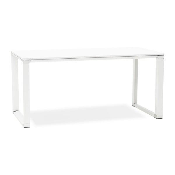 Biely pracovný stôl s drevenou doskou Kokoon Warner