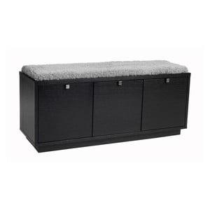 Černá lavice s úložným prostorem a s šedým sedákem Folke Confetti, šířka 106cm