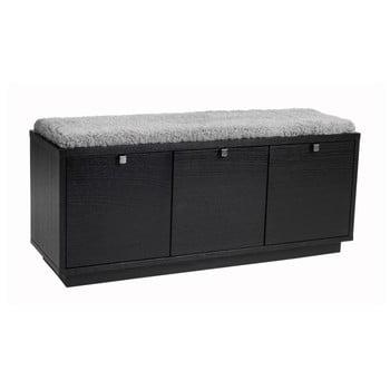 Bancă cu spațiu pentru depozitare și șezut gri Rowico Confetti, lățime 106cm, negru imagine