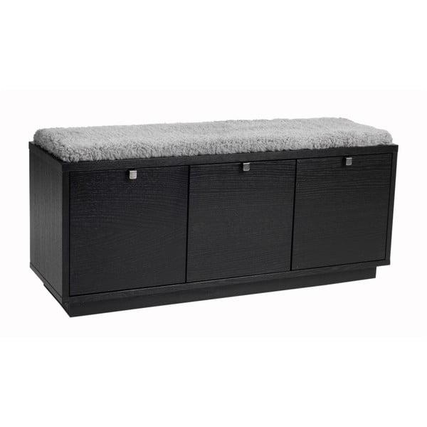 Bancă cu spațiu pentru depozitare și șezut gri Rowico Confetti, lățime 106cm, negru