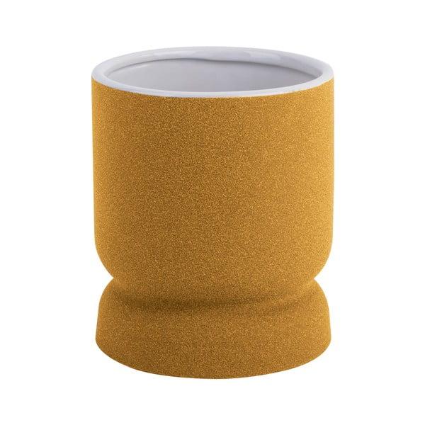 Žlutá keramická váza PT LIVING Cast, výška17cm