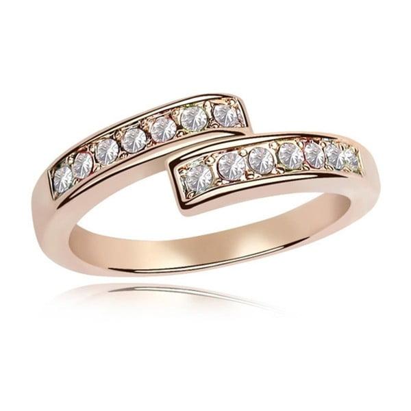 Prsten s čirými krystaly Swarovski a růžovým zlatem Letticia, velikost 52