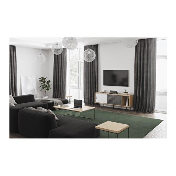 TV komoda v dekoru dubového dřeva s černobílými detaily TemaHome Dann Dots, délka 165cm