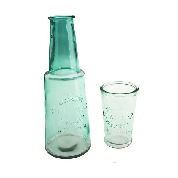 Zelená skleněná karafa sesklenicí, 800ml