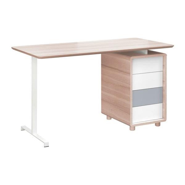 Pracovný stôl so štyrmi bielo-sivými zásuvkami Vox Evolve