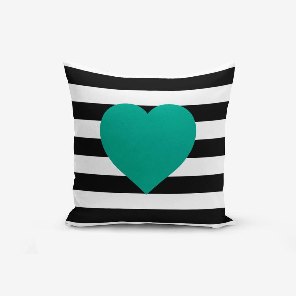 Povlak na polštář s příměsí bavlny Minimalist Cushion Covers Striped Green, 45 x 45 cm
