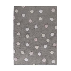 Šedý bavlněný ručně vyráběný koberec s růžovými puntíky Lorena Canals Polka, 120x160cm