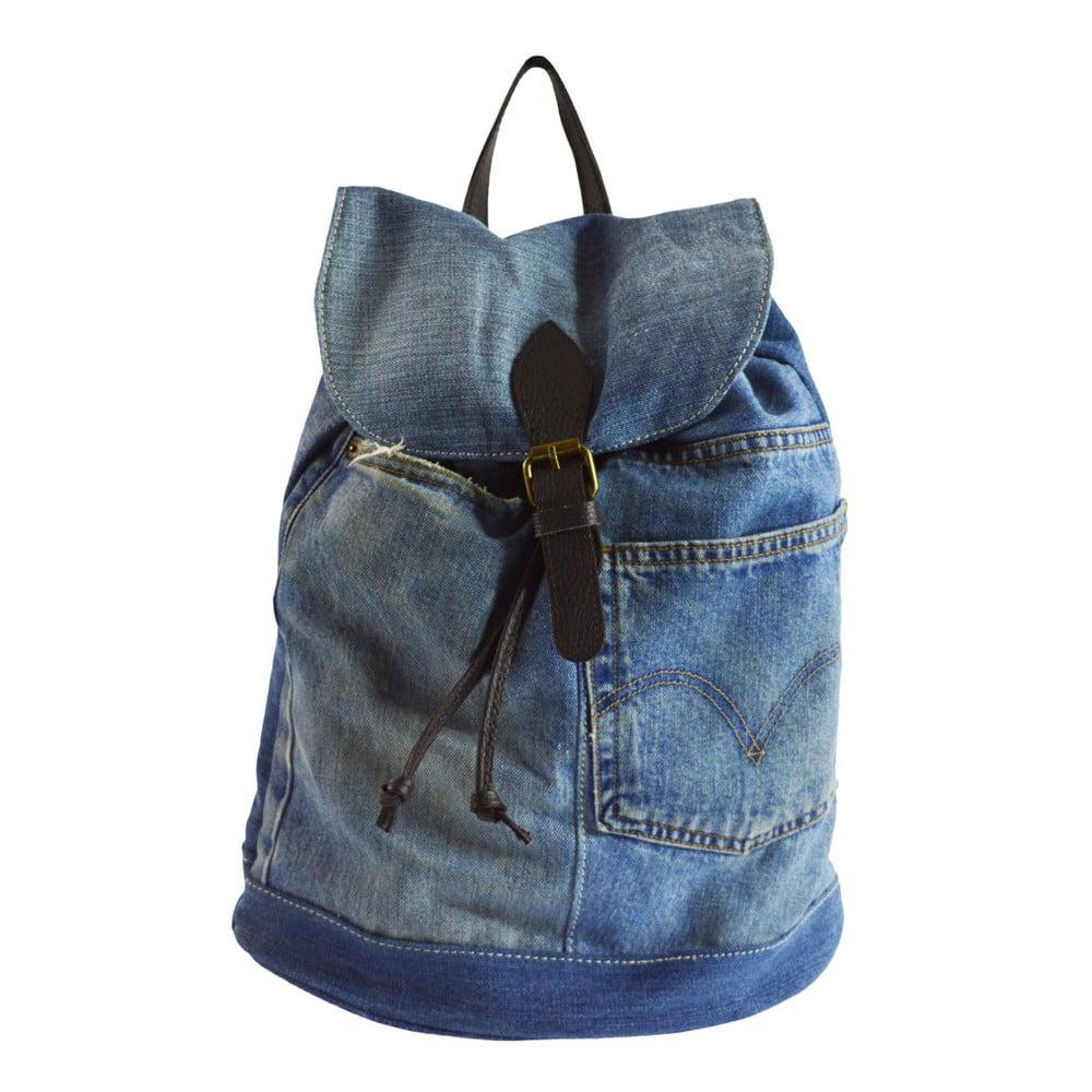 Světle modrý kožený batoh Chicca Borse Light