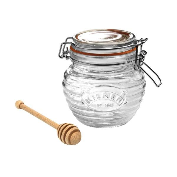 Sklenice na med s klipem a dřevěnou lžící na med Kilner, 0,4 l