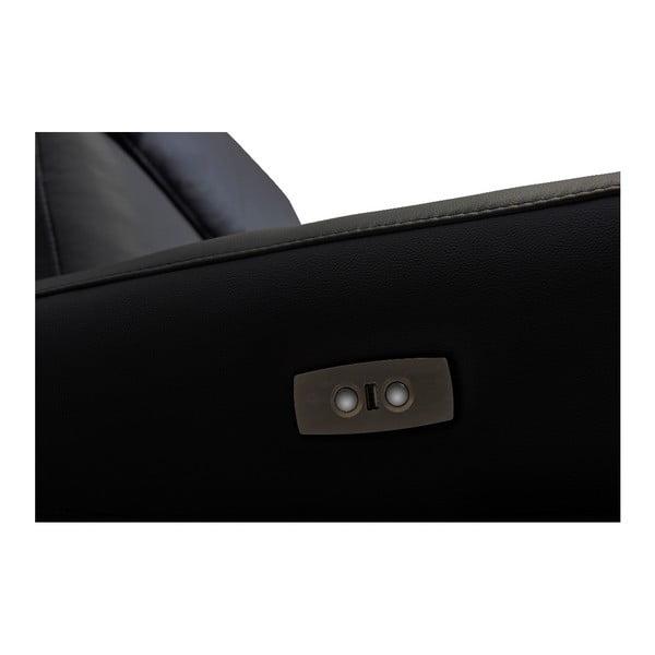 Canapea din piele cu 3 locuri Furnhouse Luxor, negru