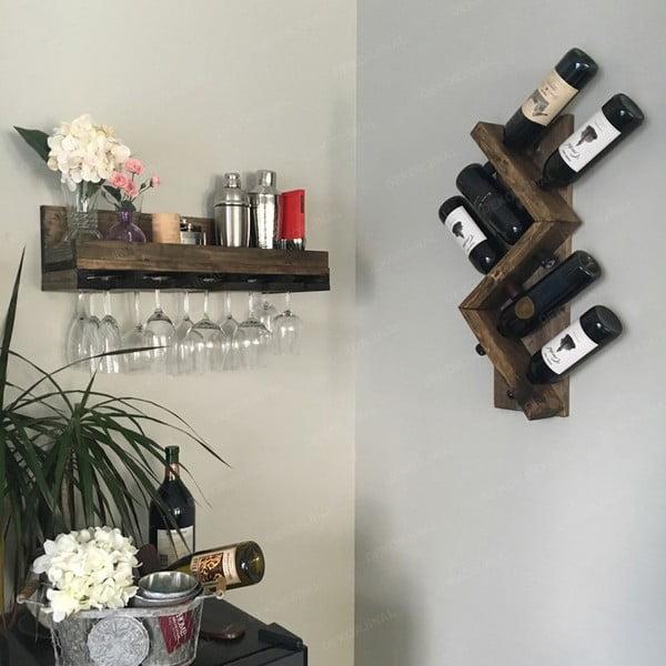 Ručně vyráběný stojan na víno z masivního dřeva Catalin Sofia, 60x33x12cm
