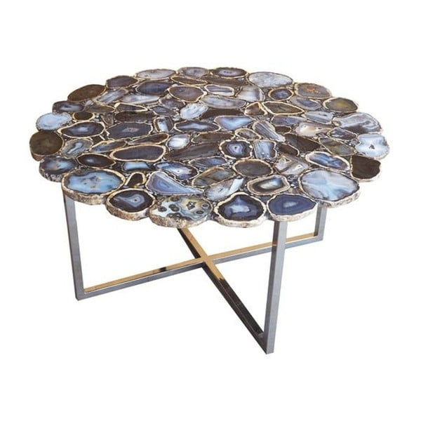 Konferenční stůl z nerezové oceli a kamenné desky Kare Design, Ø 80 cm