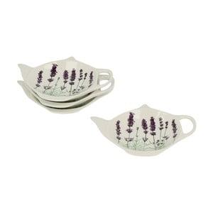 Sada 4 porcelánových tácků na čajové sáčky Duo Gift Lavender