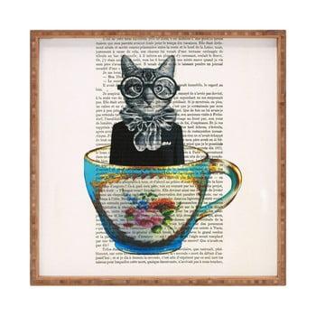 Tavă decorativă din lemn Cat In Mug, 40x40cm de la Unknown