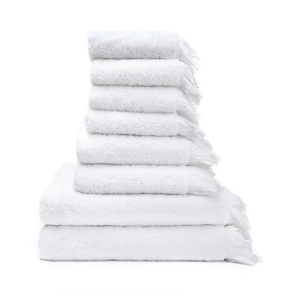 Set 6 prosoape de mâini și 2 prosoape duș din bumbac 100% Bonami White, alb
