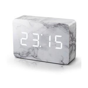 Ceas din marmură cu LED Gingko Brick Marble Clic Clock, alb