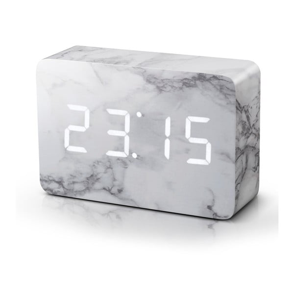 Budzik z dekorem marmuru z białym wyświetlaczem LED Gingko Brick Marble Click Clock
