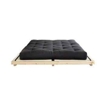 Pat dublu din lemn de pin cu saltea și tatami Karup Design Dock Comfort Mat Natural/Black, 160 x 200 cm de la Karup Design