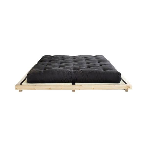Pat dublu din lemn de pin cu saltea și tatami Karup Design Dock Comfort Mat Natural/Black, 160 x 200 cm