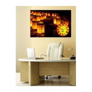 Obraz s hodinami Stezka, 60x40 cm
