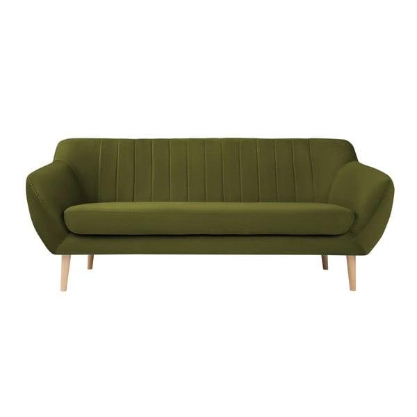 Zelená dvoumístná pohovka se světlými nohami Mazzini Sofas Sardaigne