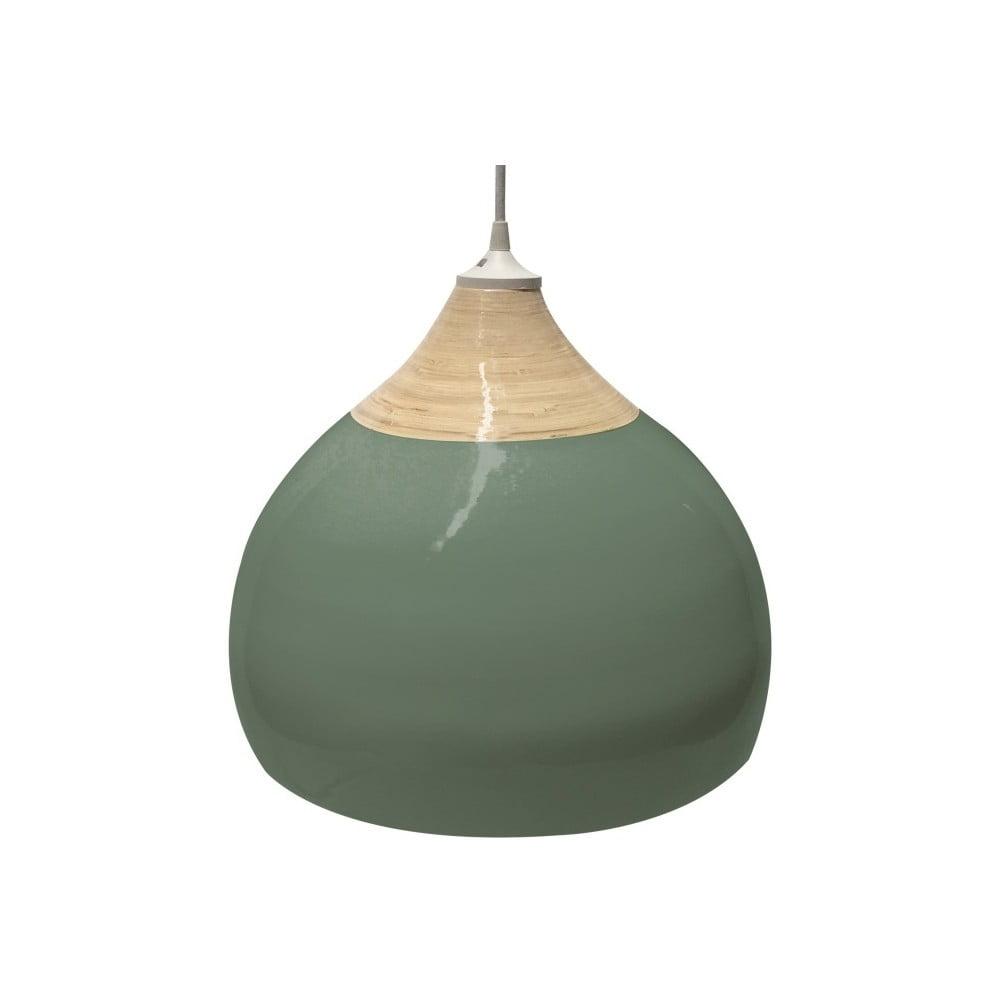 Zelené bambusové stropní světlo Leitmotiv, ⌀33cm