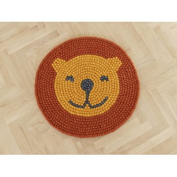Covor cu bile din lână pentru camera copiilor Wooldot Ball Rugs Lion, ⌀ 90 cm