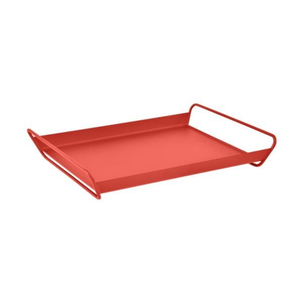 Červený kovový zahradní servírovací tác Fermob Alto
