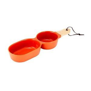 Bol dublu din porțelan pentru servit Ladelle Classic, portocaliu
