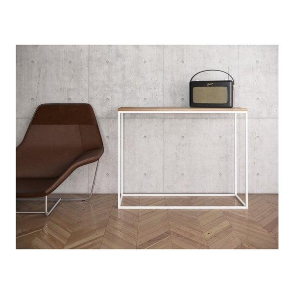 Bílý konzolový stolek s deskou z dubového dřeva take me HOME, 100x30cm