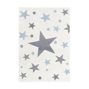 Covor pentru copii cu stele gri și albastre Happy Rugs Stars, 160 x 230 cm, alb