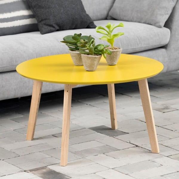 Odkládací stolek Molina ⌀80 cm, žlutý