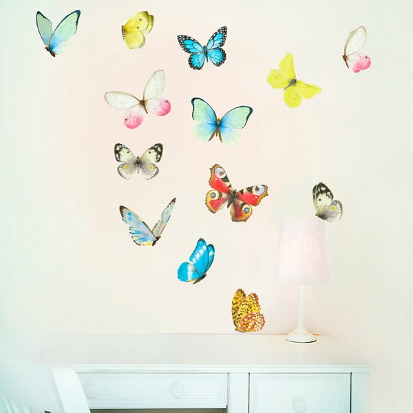 Samolepka na viac použití Watercolour Butterflies Mini, 30x21 cm