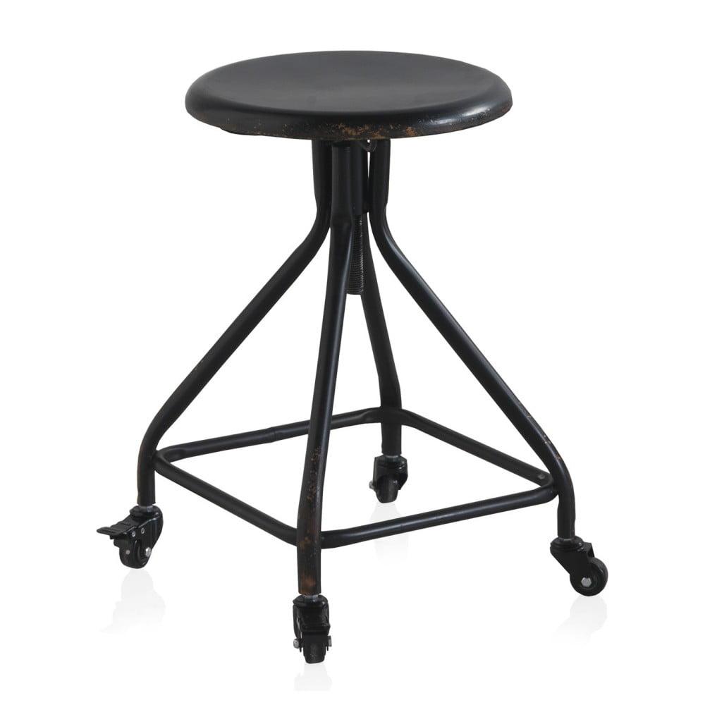 Černá kovová pojízdná stolička na kolečkách s nastavitelnou výškou Geese Industrial Style