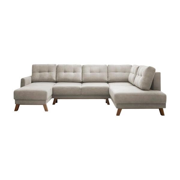 Kremowobiała sofa rozkładana z szezlongiem Bobochic Paris Balio, prawy róg