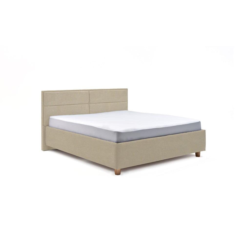 Béžová dvoulůžková postel s roštem a úložným prostorem ProSpánek Grace, 160 x 200 cm