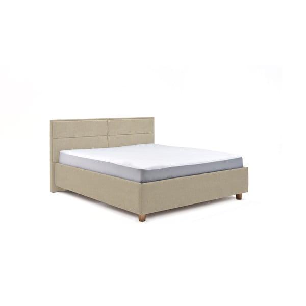 Beżowe dwuosobowe łóżko ze schowkiem DlaSpania Grace, 160x200 cm