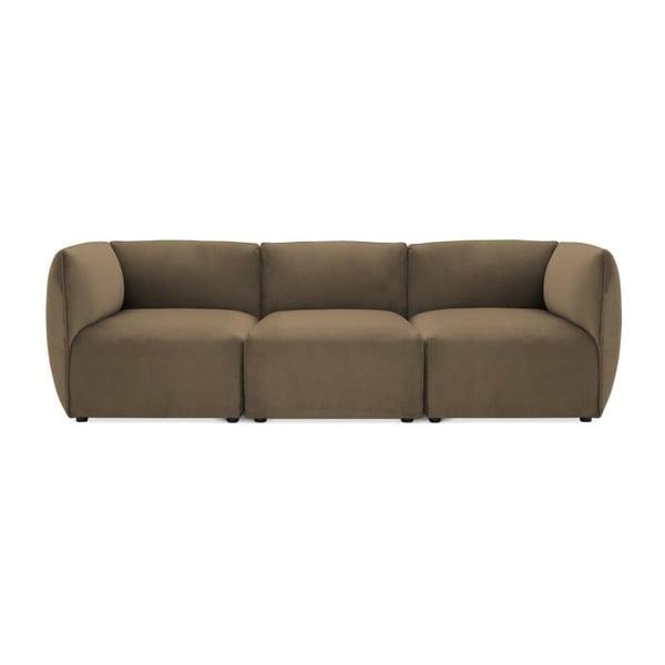Canapea modulară cu 3 locuri Vivonita Velvet Cube maro - gri