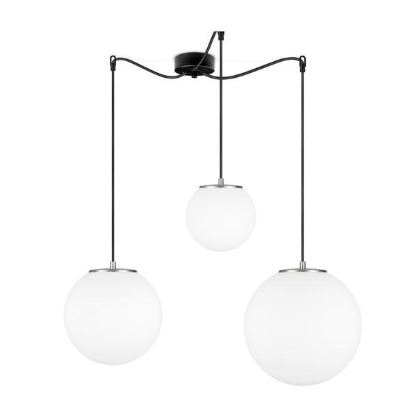 Bílé závěsné svítidlo se 3 stínidly a objímkou ve stříbrné barvě Sotto Luce TSUKI