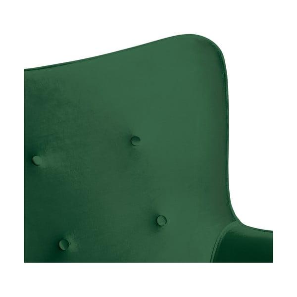 Smaragdově zelené křeslo a podnožka s podnoží v přírodní barvě Vivonita Cora Velvet