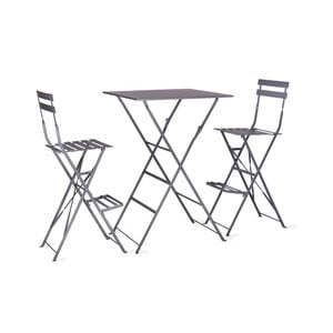 Set masă și 2 scaune Garden Trading Rive Droite Bistro, gri