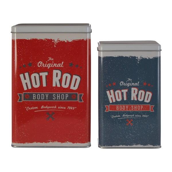 Sada 2 cínových úložných boxů Premier Housewares Barber Hot Rod