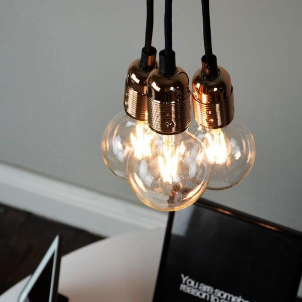 Závěsné svítidlo se 3 černými kabely a měděnou objímkou Bulb Attack Uno Group