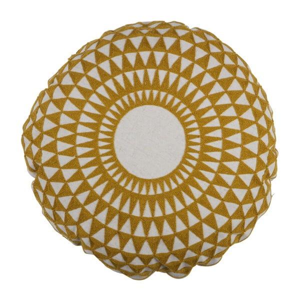Žluto-bílý polštář De Eekhoorn Inez, Ø45cm