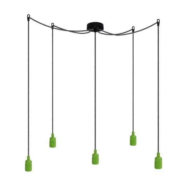 Pět závěsných kabelů Uno, zelená/stříbrnočerná/černá
