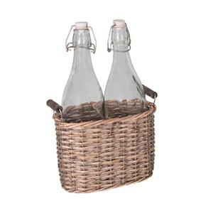 Set 2 láhví a proutěného košíku Antic Line