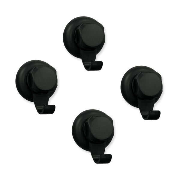 Set 4 cârlige autoadezive de perete Compactor Bestlock Black, ⌀ 5,4 cm, negru